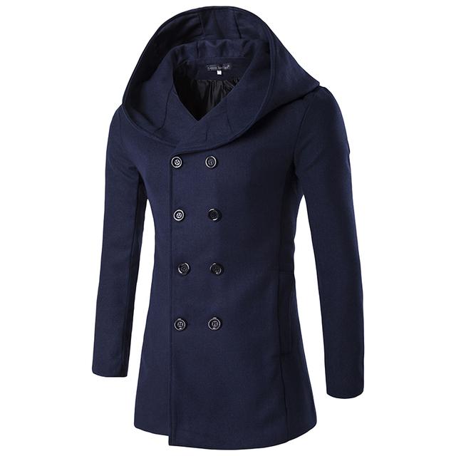 Nova Chegada Dos Homens Casaco De Lã Com Capuz Homem Longo casaco de trincheira Breasted Dobro De Alta Qualidade Cor Azul Escuro Roupas de Inverno