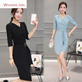 2016 New Arrival Winter Women's Clothing V-Neck Solid Plus Size Slim Sexy Belt Brand Female Office Pencil Dress S-2XL