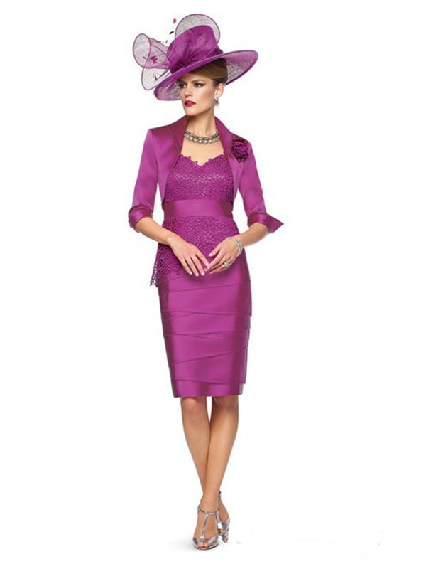 f82878f4356 2015 Hot Sale Mother of Bride Lace Dresses with Jacket Knee Length Veni  Infantino Plunging V Neck Half Sleeve Hat not included-in Mother of the  Bride ...