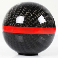 M10 X 1.5 Mug Style Carbon Fiber Manual 6 Speed Shift Knob Red Strip For Honda