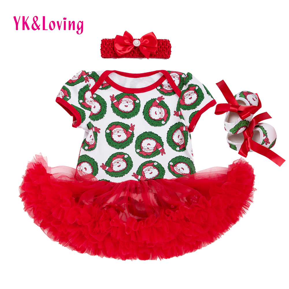 Infant Baby Christmas Clothes Girl Suit Costume Clothing Sets Rompers Dresses Santa Claus Print Children Party Cosplay Gift