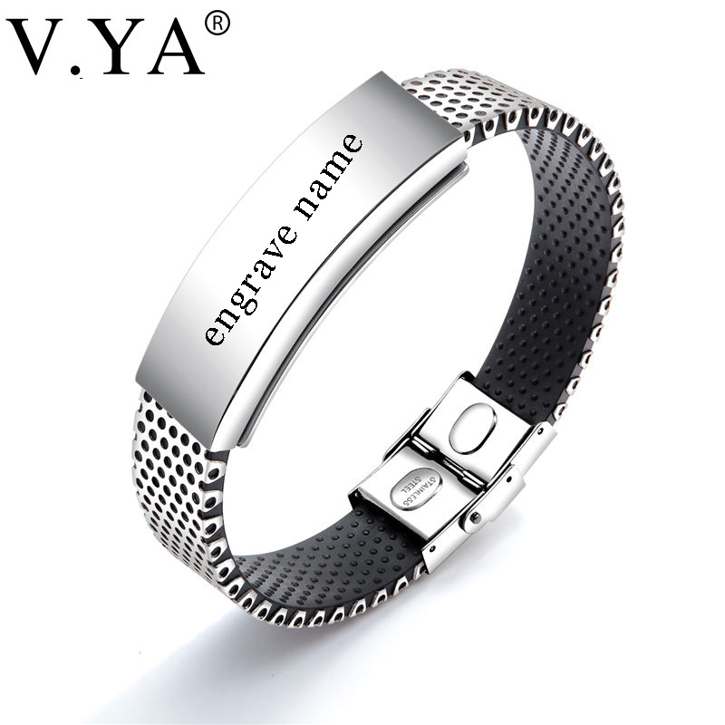 V.YA Personalized Name ID Bracelets for Men DIY Custom Stainless Steel Silicone Engrave Magnet Bracelet for Male Jewelry Charms