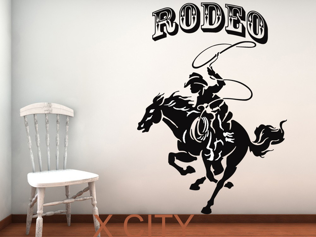 Rodeo Horse And Cowboy Retro American Western WALL ART STICKER VINYL DECAL  ROOM STENCIL MURAL HOME
