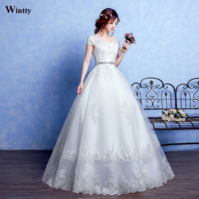 Wintty New 2017 Princess Wedding Dresses With Short Sleeves Bridal ...