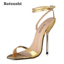 Batzuzhi Fashion Sexy Women Sandal Shoes Open Toe Ankle Strap 12.4cm Gold Sexy High Heels Summer Sandals for Ladies Party, Date цена 2017