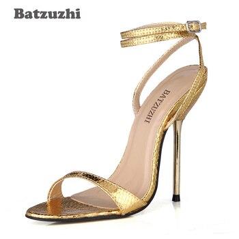 Batzuzhi Fashion Sexy Women Sandal Shoes Open Toe Ankle Strap 12.4cm Gold Sexy High Heels Summer Sandals for Ladies Party, Date sandal