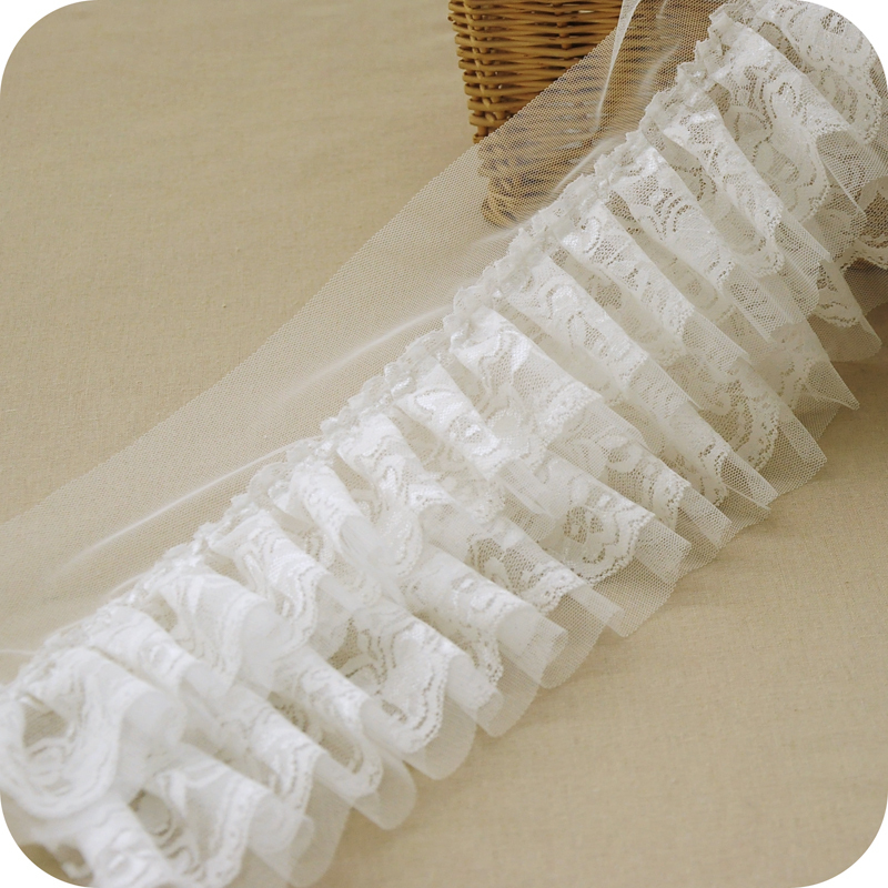 New Arrival Romantic DIY Handmade Elegent White Lace Trims Multi-layers Plated Ruffled Lace for DIY Accessary W033