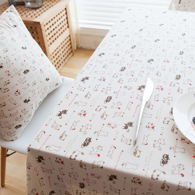 Delightful Linen Table Cloth Printed Japan Style Korean Cat Tablecloth Nappe Table  Cover Manteles Para Mesa Toalha