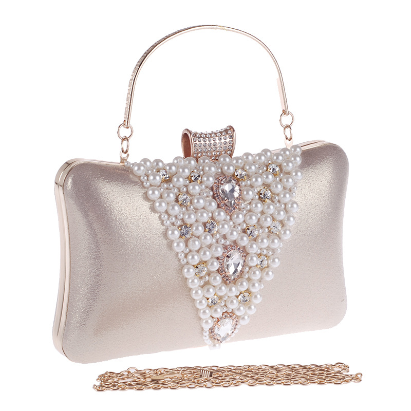 Noble Diamond Dinner Banquet, Luxurious Handbag In Cocktail Party , Pearl Studded Clutch Bag, European Banquet Gown Bag