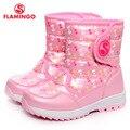 Flamingo 2016 nova coleção moda inverno botas de neve com lã de qualidade anti-slip sapatas dos miúdos w6nq050/053/054/055