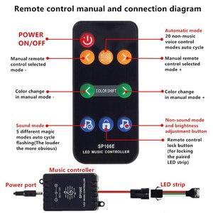 Image 5 - Commande musicale, 5 20m, LED bandes lumineuses couleur de rêve, WS2811, LED bandes RGB, 5050, SP106E, télécommande RF, avec adaptateur 12V pour fête