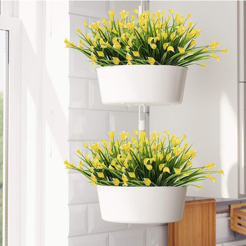 Outdoor Artificial Bonsai Calla Bonsai Pot Fake Home Garden Flower Decor C