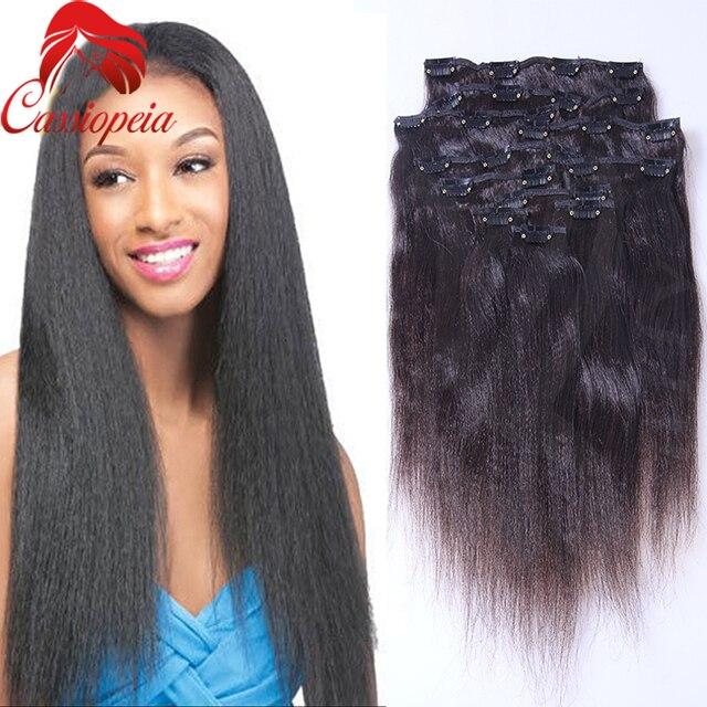Light Yaki Straight Clip In Hair Extensions Full Head Coarse Yaki