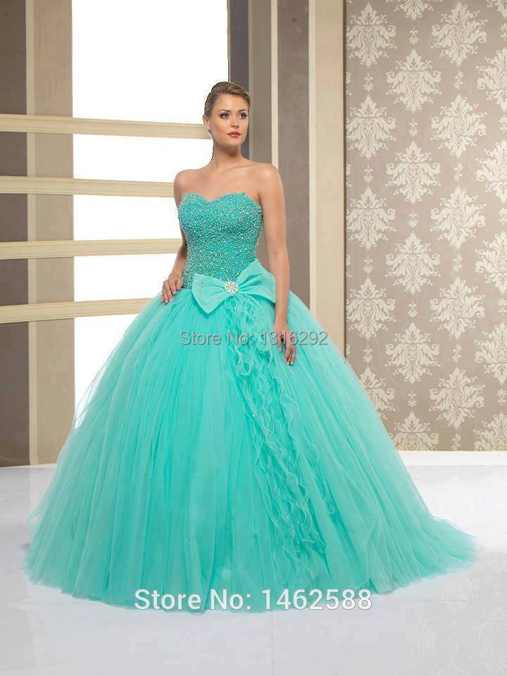 Unique Pearl Beaded Sweetheart Bow Decoration Turquoise Ball Gown ...