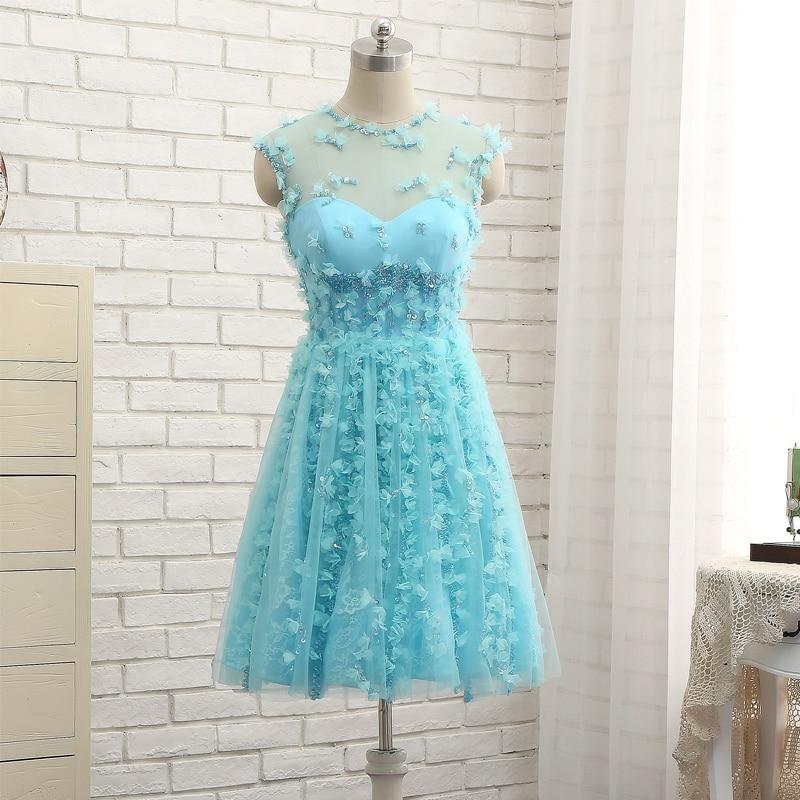 Синий рукавов Homecoming платье из тюля и кружева с цветы ручной работы Короткие Vestidos De Festa Curto Luxo Vestidos Curto