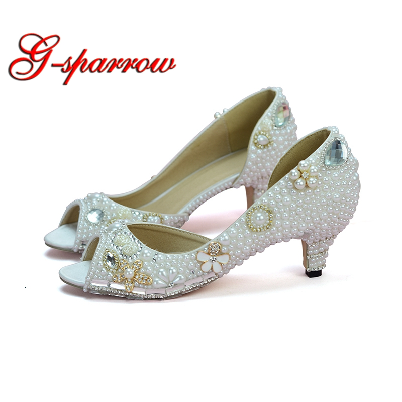 Fairy Tale Evening Dress Heels White Pearl Peep Toe Hollow Middle Heel Weddding Bridal Shoes 2 Inches Heel Summer Bride Pumps pearl detail hollow panel dress