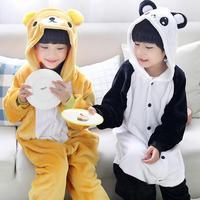 Inverno Caldo manica Lunga Pigiama Set Bambini Cartoon Orso E Panda Cosplay Animal Ragazzi Ragazze Tutina Flanella Indumenti Da Notte Per Bambini