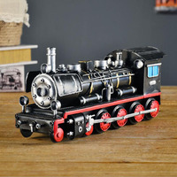 Hand Made Retro Metal Steam Locomotive Train Iron Royal Train Model Hand Coloring Display Decoration