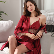 2019 Latest Spring Summer Thin Sexy Lace Ice Silk Big Size Sling Nightdress Two-Piece Female Satin Bathrobes F8207