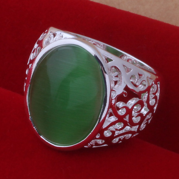 Silver plated Ring Fashion Jewerly Ring Women&Men Jade color stone /egtamyaa fwpaonwa AR423