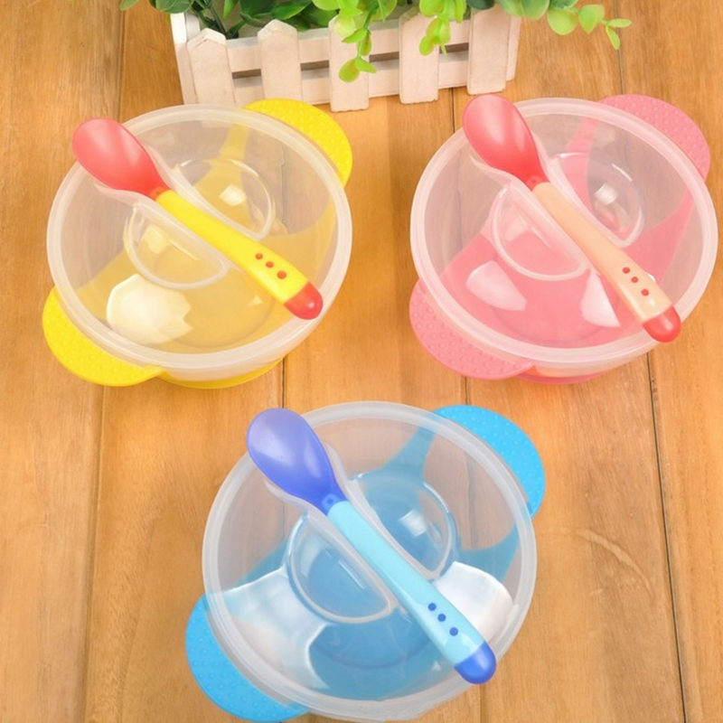 Captivating 1Set Practical Baby Tableware Learning Dishes With Suction Cup Temperature  Sensing Spoon Drop Spoon Bow For