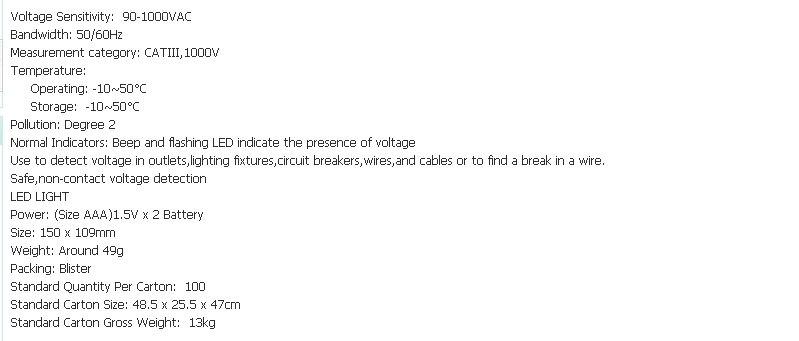 50 шт./лот Freeshipping тестер Напряжения ПЕРЕМЕННОГО ТОКА Электрический Напряжение Детектор Тестера Pen 90~ 1000 В dropshipping
