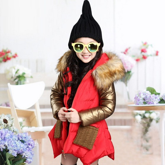 Retail 2018 Winter Girsl Fashion Casual Splicing Long Cotton Padded Clothes Coat Child -7319