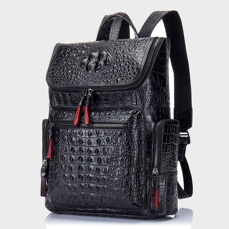 Mochila de couro genuíno dos homens das mulheres para o portátil de alta qualidade saco viagem casual luxo mochila homem couro de crocodilo