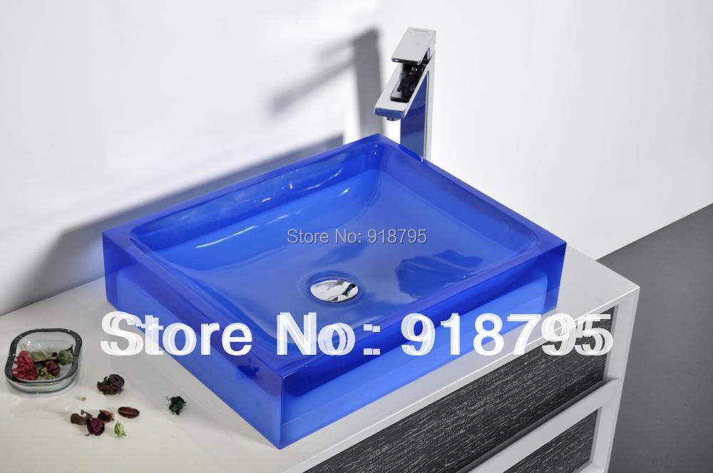 Rectangular Bathroom Resin Counter Top Sink Vessel Cloakroom Vanity Above Counter Colored Washbasin 38246-556