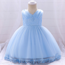 Retail Baby Girl Princess Dress Pearls Infant Baby Girl Newborn Dress For 1 Year Birthday Party Dress L1835XZ