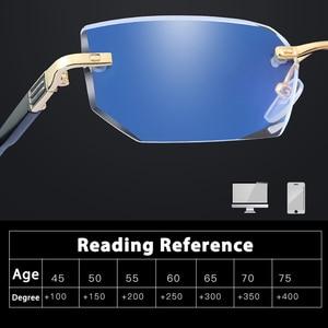 Image 2 - Anti Blue Ray Computer Rimless Reading Glasses Aspherical 12 Layer Coated Lenses Business Hyperopia Prescription Eyeglasses
