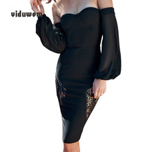 New Lace Shoulder Long Sleeve Strapless Sexy Women Dress Wrapped Chest Black Lady Party