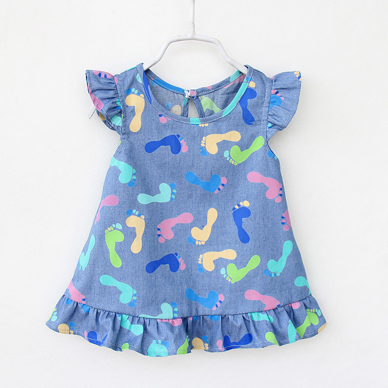 Oklady Baby Girls Dress 2017 New Summer Cotton short sleeve Denim Dresses kids fashion print clothing 2-7Y children's clothes