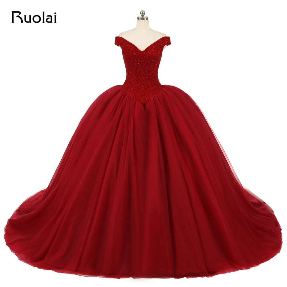 Real Photo Burgundy   Evening     Dress   Long Off the Shoulder Beaded Princess Ball Gown Prom   Dresses   2019   Evening   Party Gown ASAE80