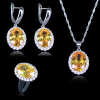 Three Piece Cubic Zirconia Necklace Earrings Ring Set Fashion 925 Stamp Silver Color Big Oval Sparkling