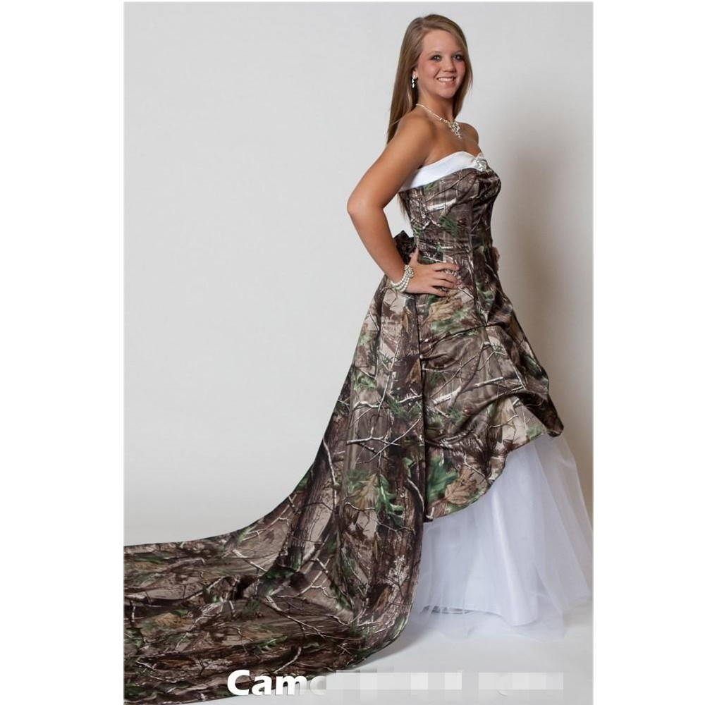 Sweetheart Lace Wedding Dress: Sweetheart A Line Lace Up Back Camo Wedding Dress