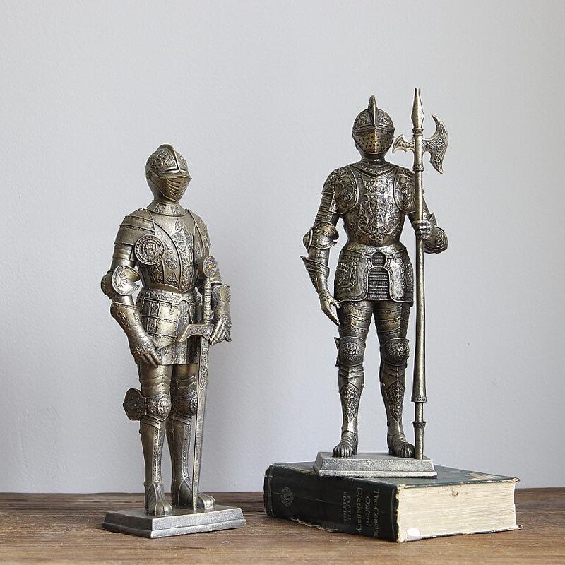 Romain Guerrier Soldat Européenne Rétro Creative Décoration Sculpture Artisanat D'œuvres D'art Bar Club Décorations Douces
