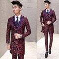 Borgoña Traje (Jacket + Vest + Pant) 2016 Nuevo Lujo Smoking Masculino Bordado Floral Delgado Trajes de Boda de Los Hombres el novio de Baile Traje