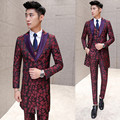 Burgundy Suit (Jacket+Vest+ Pant) 2016 New Luxury Smoking Masculino Embroidery Floral Slim Suits Men Wedding Groom Prom Costume
