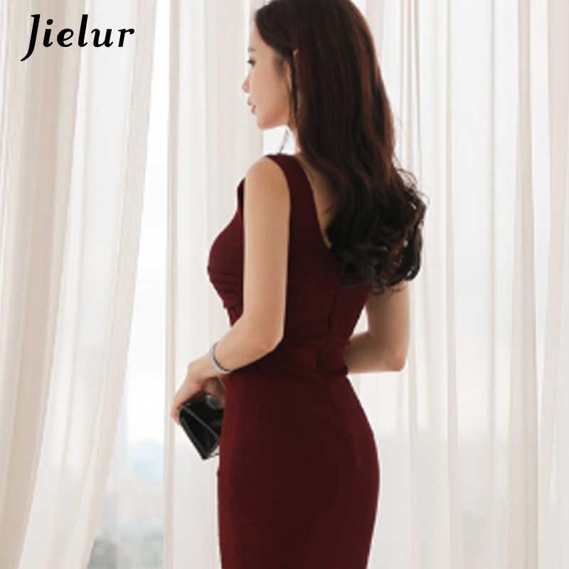 Jielur летнее платье женское красное вино Сплит Спагетти ремень Стойкий цвет для женщин платья Глубокий v-образный Вырез Винтаж Kpop стиль халат Femme