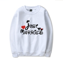 Lovers  Mouse Love Sign Cartoon Illustration Cool Design O-NECK Cotton Sweatshirts with Casual Top