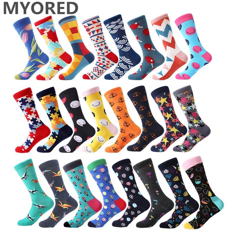 MYORED 1 пара для мужчин носки для девочек чесаный хлопок яркий цветной смешные мужские носки до середины икры экипажа бизнес Причинно