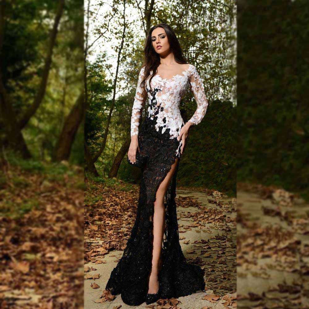 2019 Sexy Black and White Full Lace Evening Dresses V Neck Long Sleeve Prom Gowns Elegant