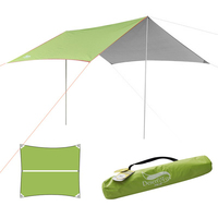 Waterproof Tent Tarp Sun Rain Shelter Hammock Rain Fly Awning Canopy with Stakes Pegs Guyline Ropes Outdoor Camping Accessories