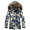 New 2016 Winter Real Fur Collar Mens Thick Warm Camouflage Parka Men Wool Liner Outdoors Thermal Duck Down Jacket Men Long Coat