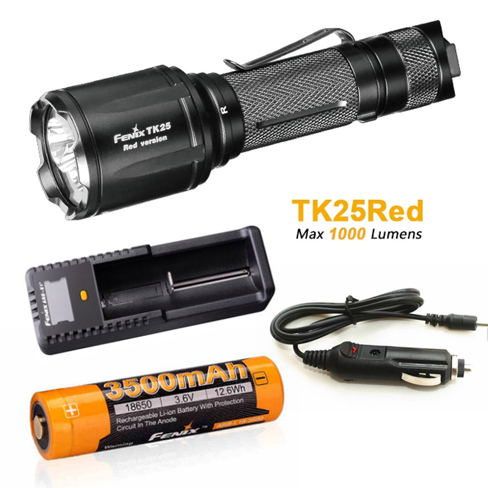 New Arrival Fenix TK25 Red Version Cree XP-G2 S3 & XP-E2 Red LED's Dual Lighting Hunting Flashlight for Most Tactical Demands fenix ld09 2015 version 220 lumens cree xp e2 r3 led flashlight