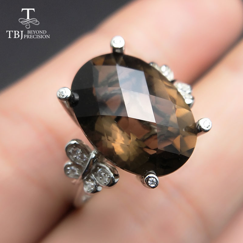 TBJ, 100% natural smoky quartz checkerboard oval 11ct gemstone ring in 925 sterling silver fine jewelry for women with gift box nkf 11ct r033 3