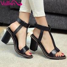 Vallkin 2017 женщины сандалии т-ремень из натуральной кожи сандалии квадратные высокие каблуки сандалии лето peep toe удобная обувь размер 34-39