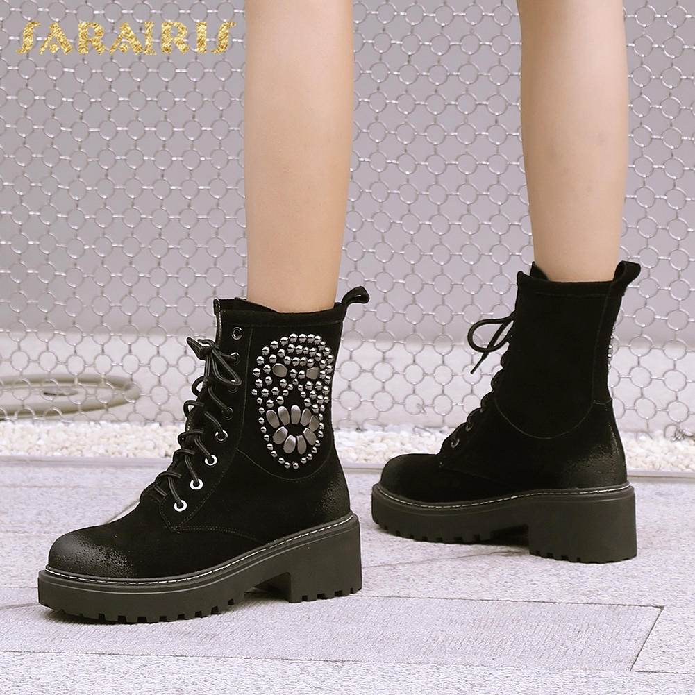 SARAIRIS New Brand Cow Suede Leather Lace Up Comfort Women Boots Shoes Woman Boots Best Quality Women Shoes Female BootSARAIRIS New Brand Cow Suede Leather Lace Up Comfort Women Boots Shoes Woman Boots Best Quality Women Shoes Female Boot