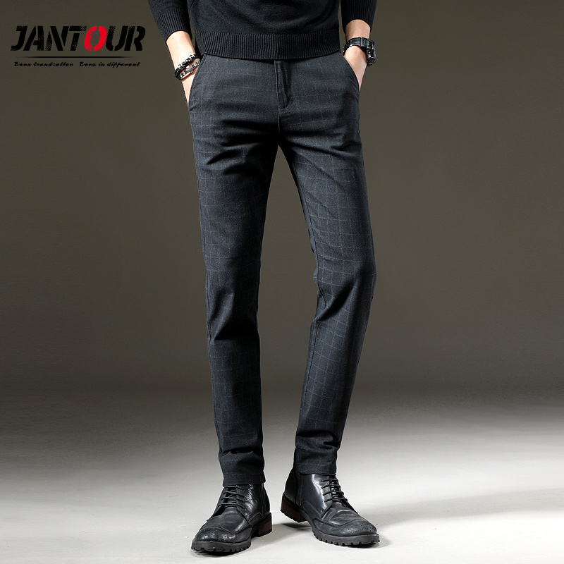 Jantour Classic Casual Elastic Long Trousers Male Black Cotton Lattice Straight Work